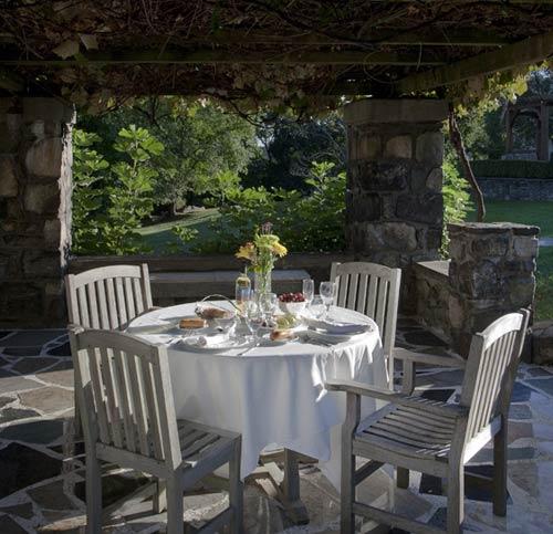grape arbor seating area